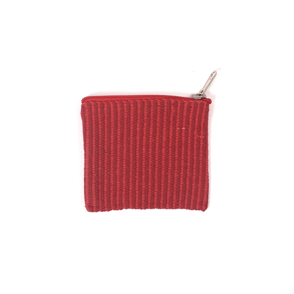 Handcrafted Coin Pouch - Red Stripes