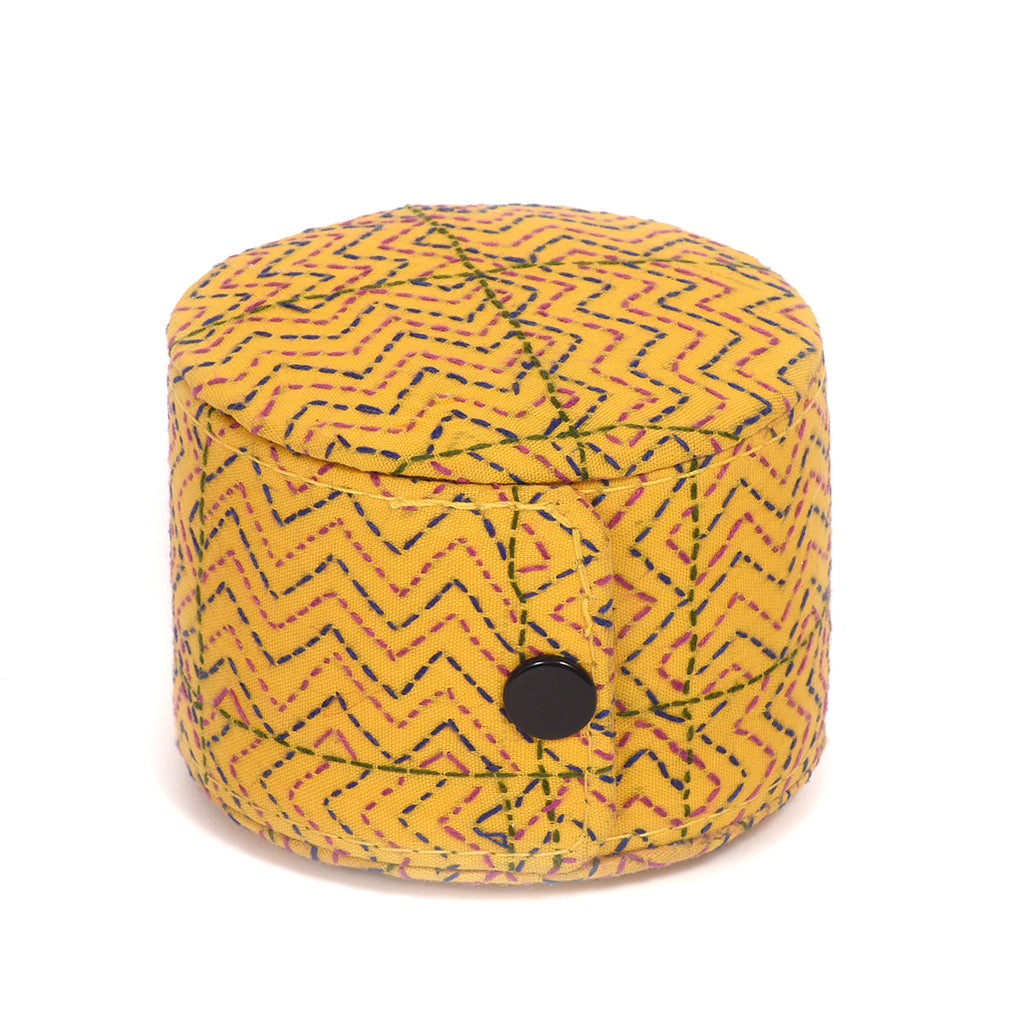 Kanta Work Handcrafted Bangle Box - Yellow