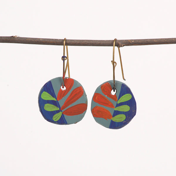 Hand painted Clay earrings - Ferns