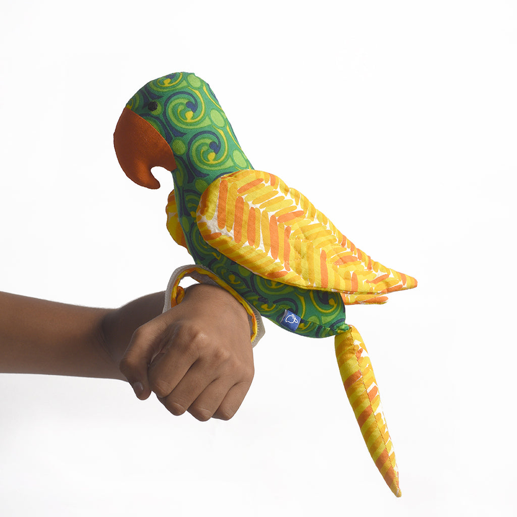 Recycled Fabric Toy - Captain Parrot with Yellow Wings