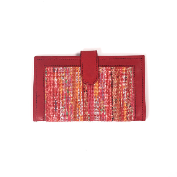 Handcrafted Khesh Fabric Wallets - Deep Red