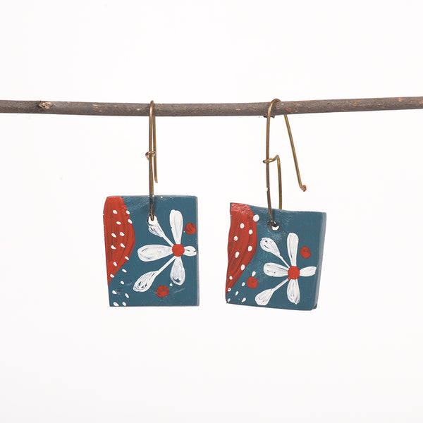Hand painted Clay Earrings - Floral
