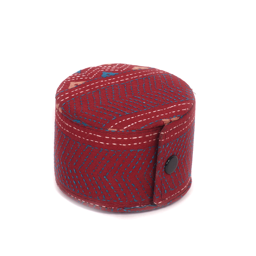 Kanta Work Handcrafted Bangle Box - Maroon