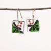 Hand painted Clay Earrings - Green and Black