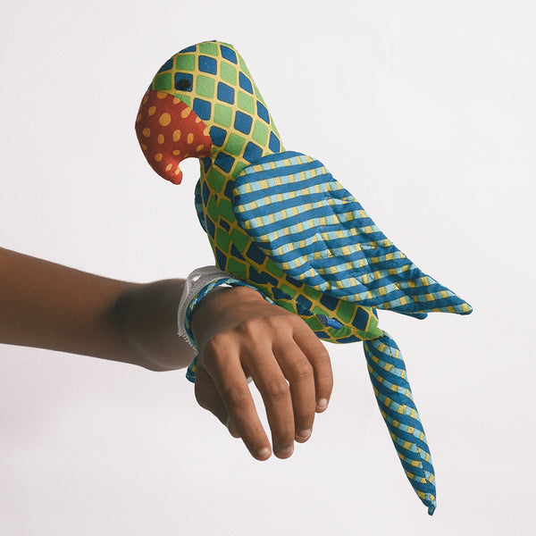 Recycled Fabric Toy - Captain Parrot with Red Beak