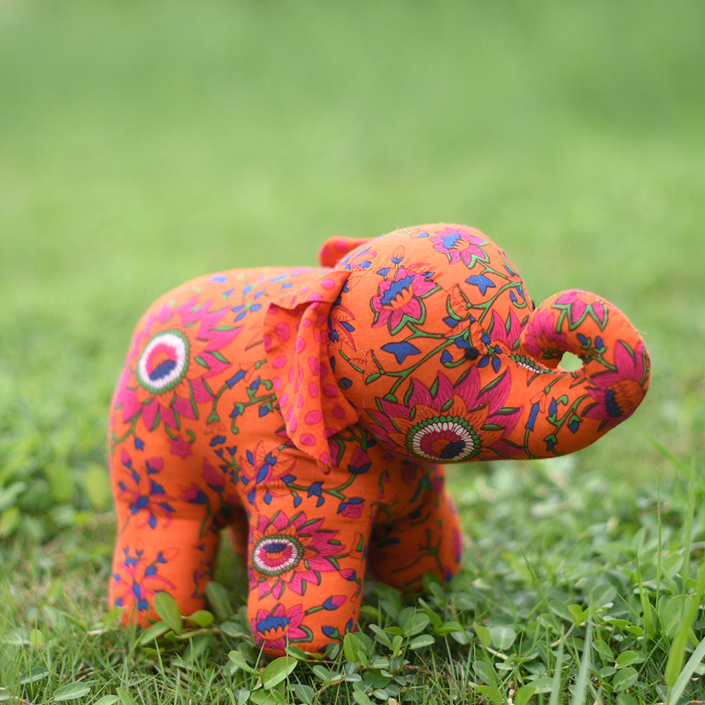 Miranda the Young Elephant - Recycled Fabric Toy (Red)