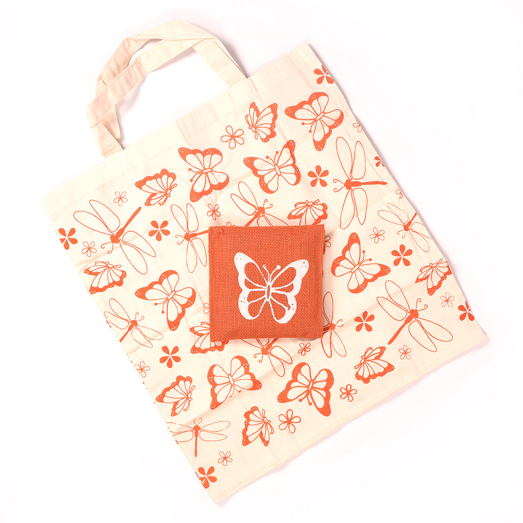 Handcrafted Kora Cloth Bag with Jute Pouch - Orange Butterfly