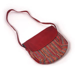 Handcrafted Handbag with Leather Strap - Red