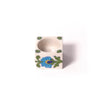 Blue Pottery Ceramic Tea Light Candle Holder - White