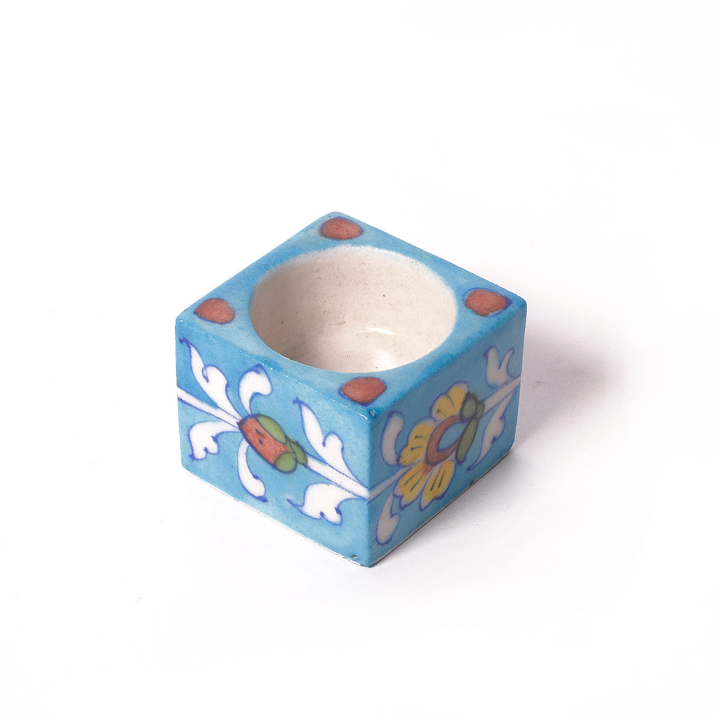 Blue Pottery Ceramic Tea Light Candle Holder - Blue