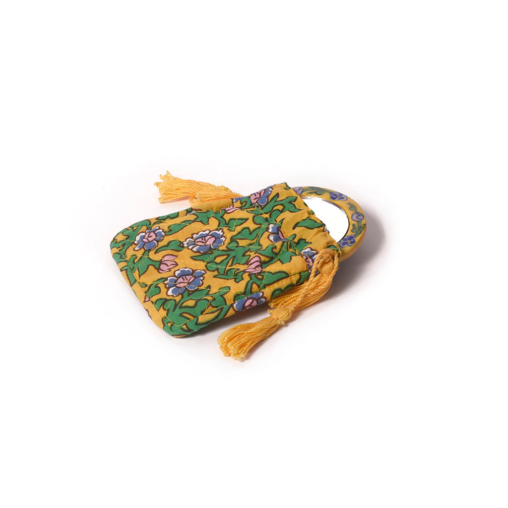 Gypsy Pouch with Mirror - Yellow