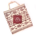 Handcrafted Kora Cloth Bag with Jute Pouch - Maroon Fish