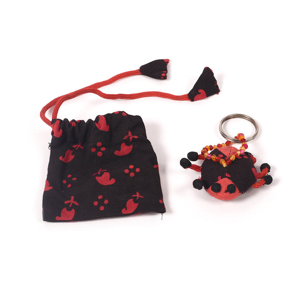 Recycled Fabric Keychain with Pouch - Bug