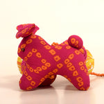 Recycled Fabric Rabbit Wall Hanging - Pink and Yellow