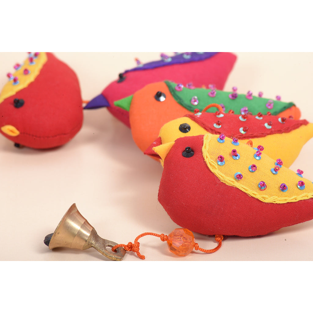 Recycled Fabric Toy - Love Birds Wall Hanging