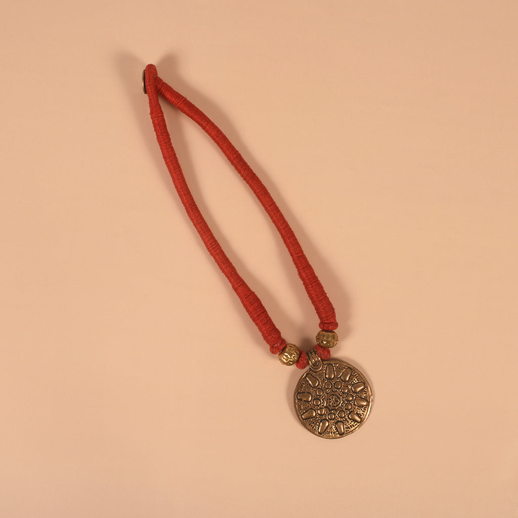 Handcrafted Dokra Neckpiece - Red
