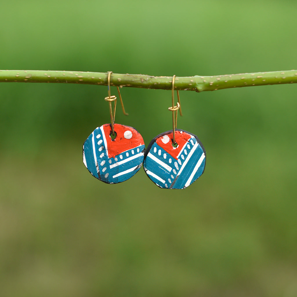 Hand painted Clay Earrings - Red and Blue