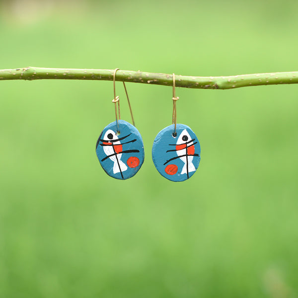 Hand painted Clay Earrings - White Fish