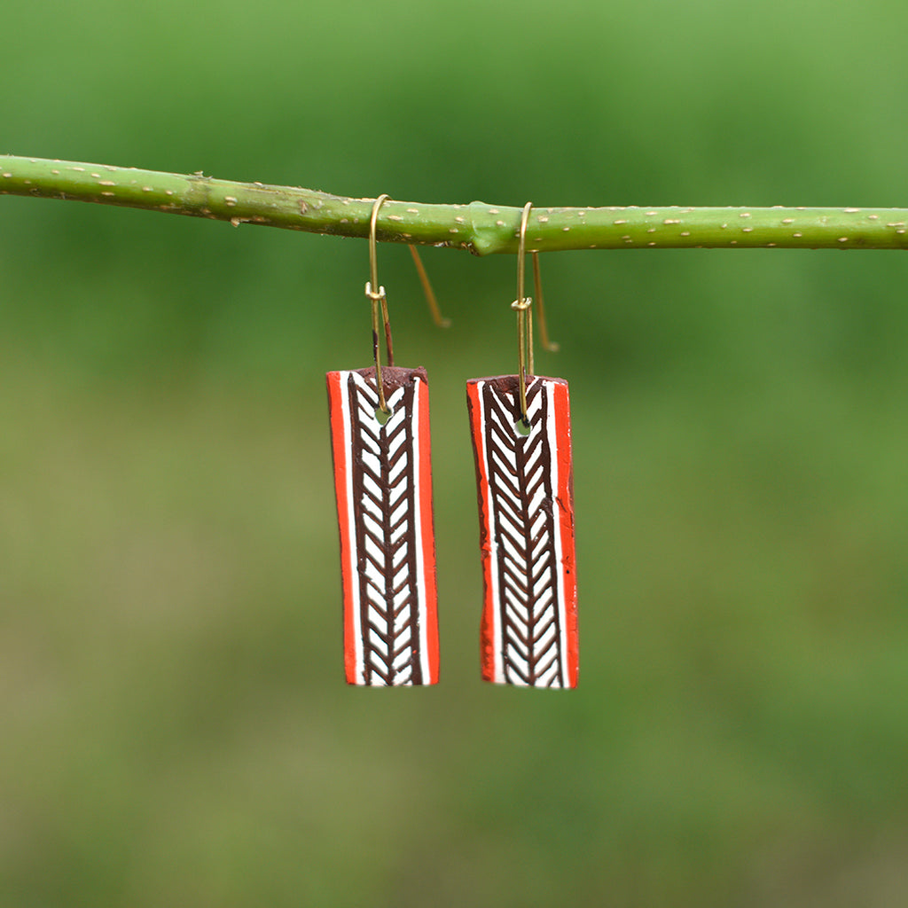 Hand painted Clay Earrings - Rectangle Bar