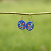 Hand painted Clay Earrings - Blue