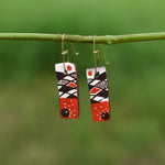 Hand painted Clay Earrings - White and Red
