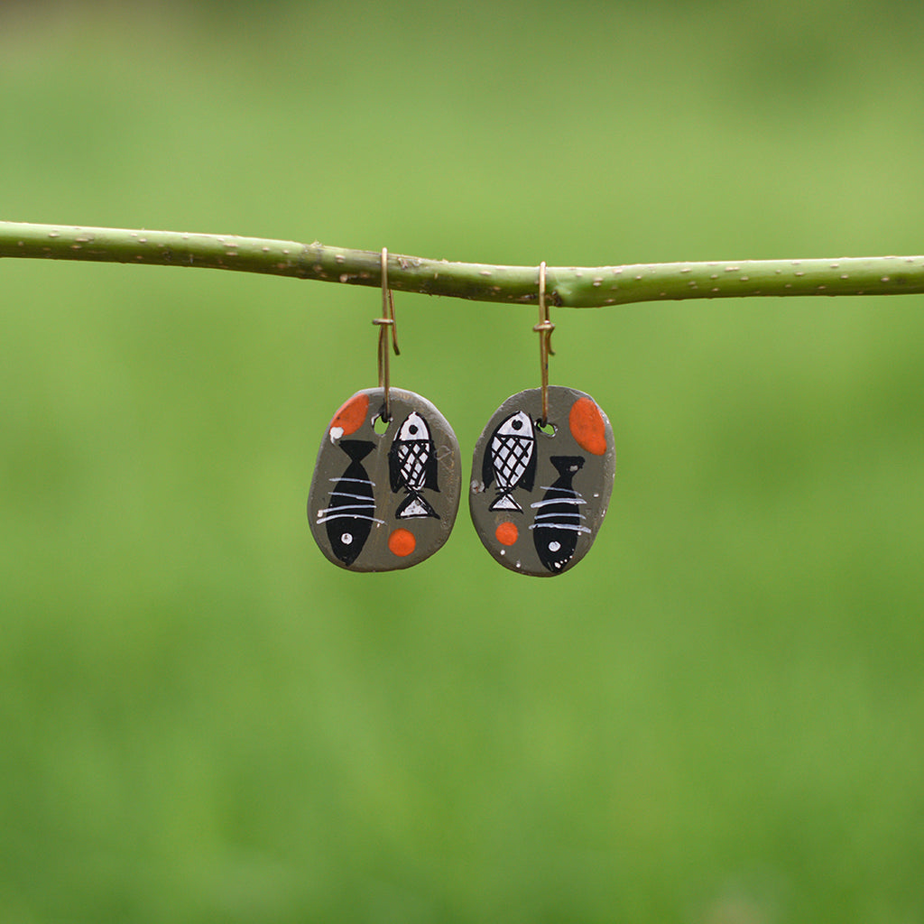 Hand painted Clay Earrings - Pisces