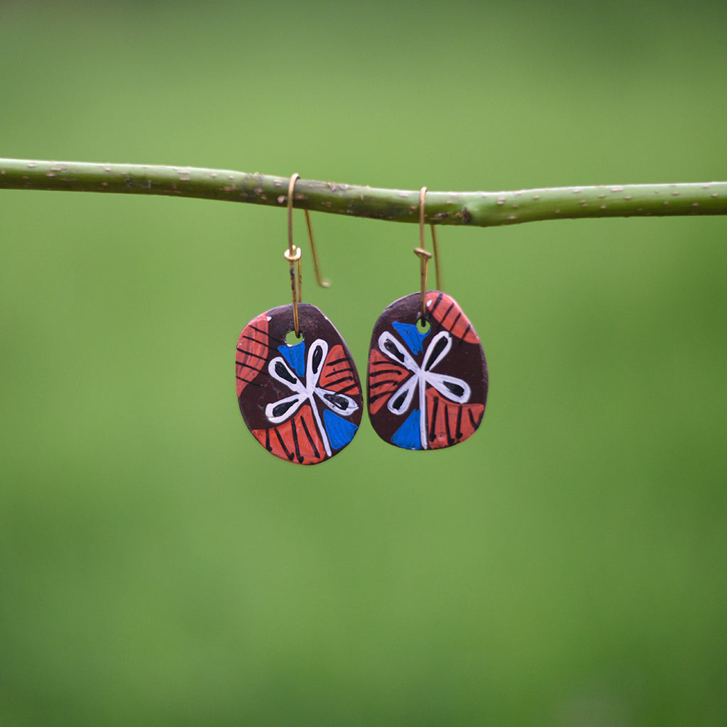 Hand painted Clay Earrings - Browns