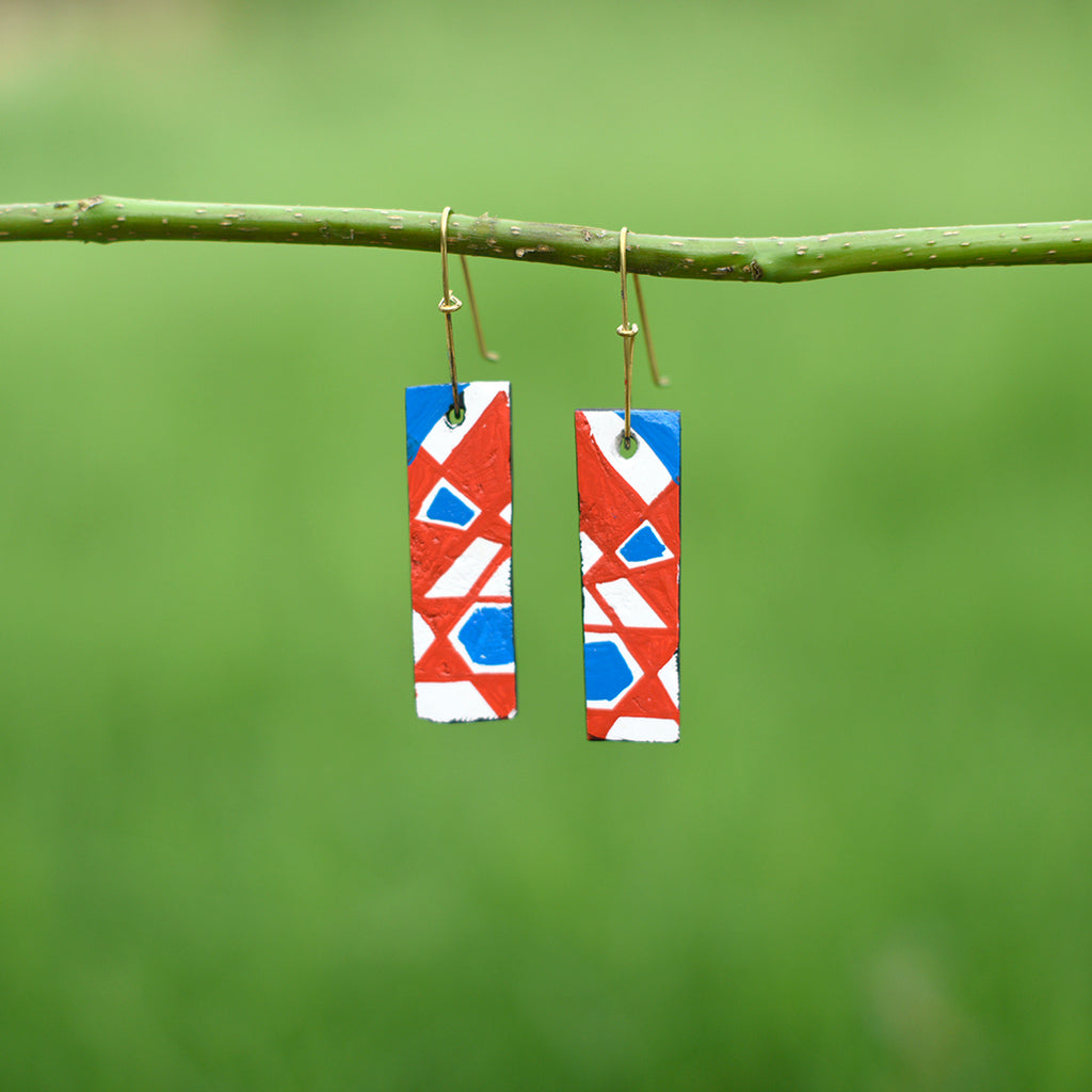 Hand painted Clay Earrings - Geometric Patterns