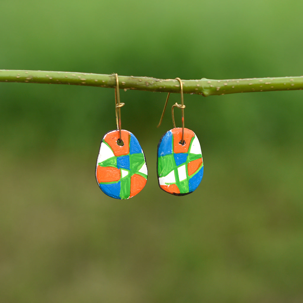 Hand painted Clay Earrings - Multicolored