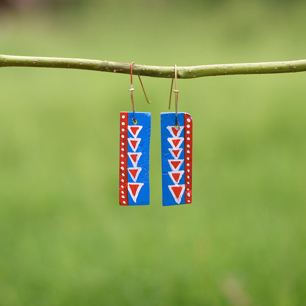 Hand painted Clay Earrings - Small Triangles