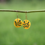 Hand painted Clay Earrings - Yellow Love