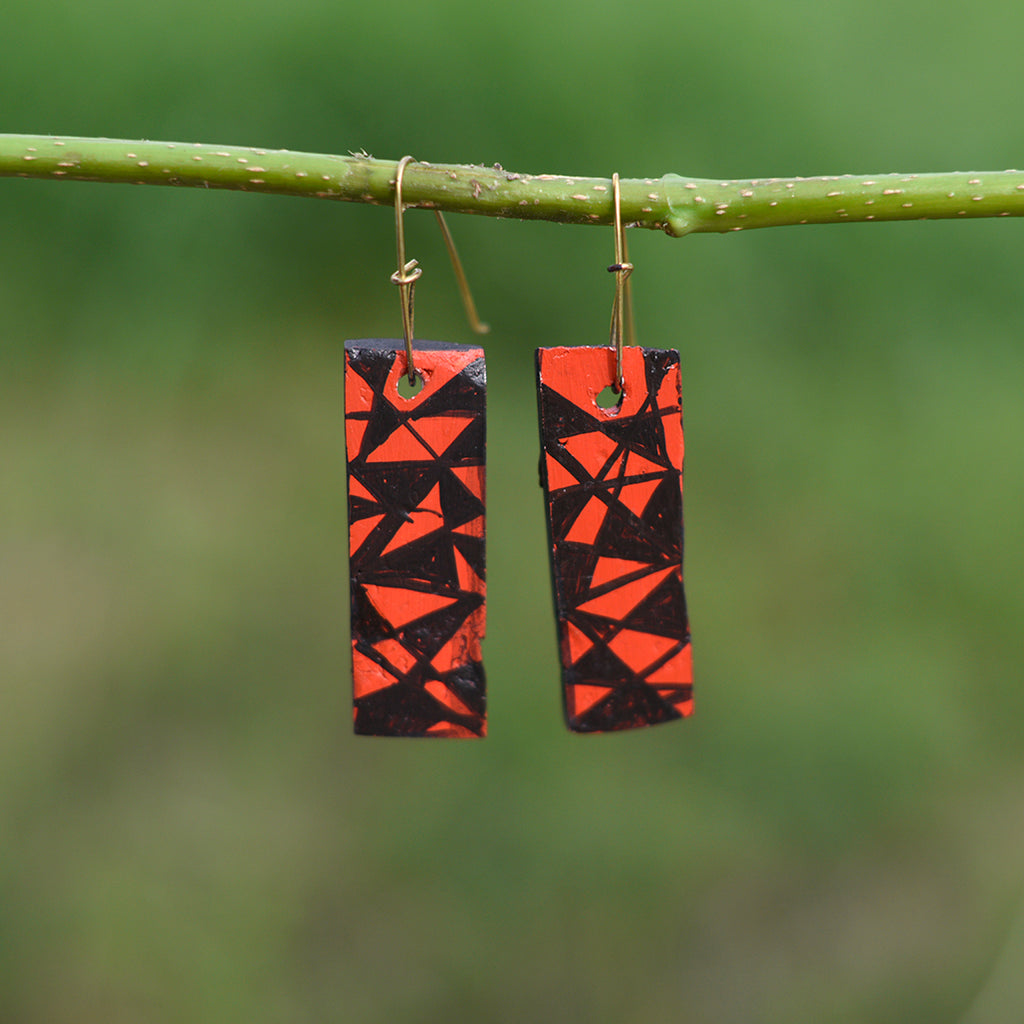 Hand painted Clay Earrings - Zig Zag