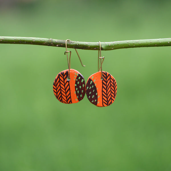 Hand painted Clay Earrings - Reds