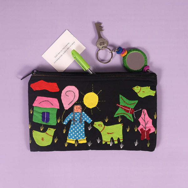 Handcrafted Applique Work Pouch - Black