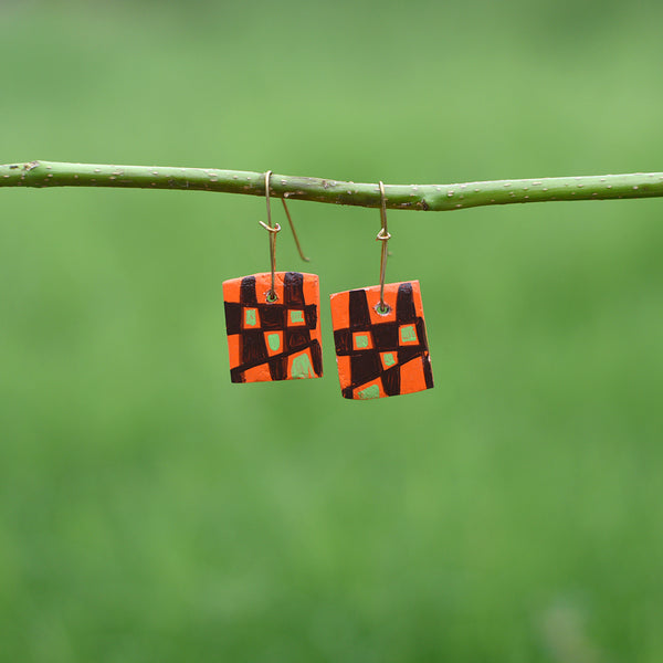 Hand painted Clay Earrings - Squares
