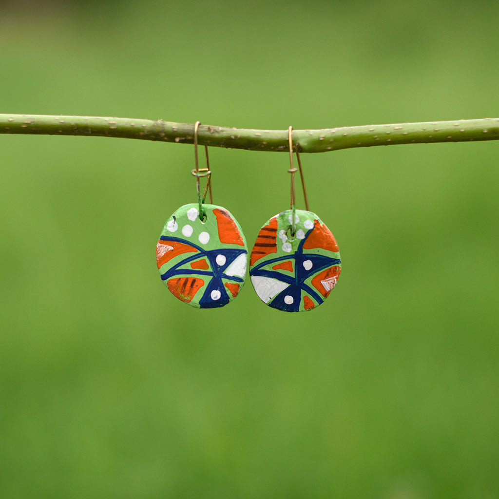 Hand painted Clay Earrings - Rainbow