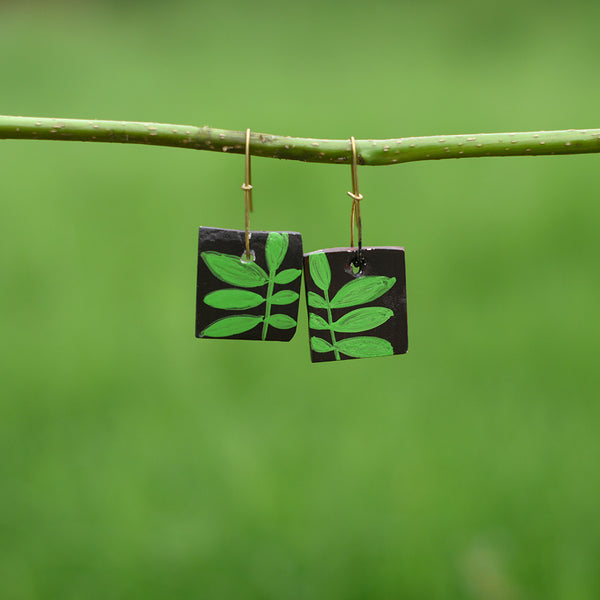 Hand painted Clay Earrings - Light Green