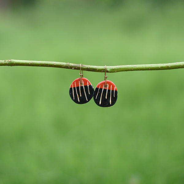 Hand painted Clay Earrings - Black and Red