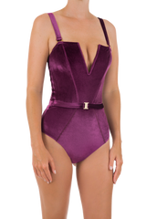 The Victory Velvet Swimsuit | Rich Purple