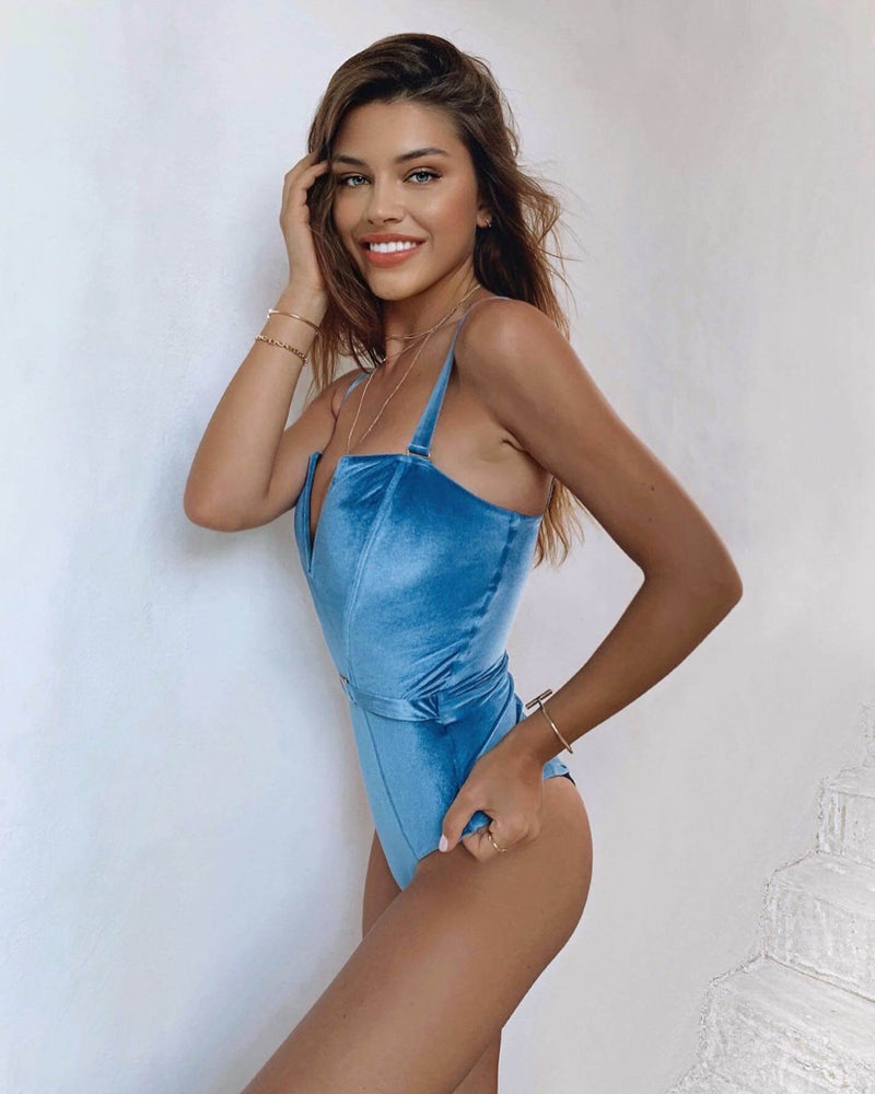 The Victory Velvet Swimsuit | Blue