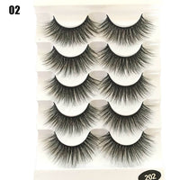 5 Pairs Faux Mink Hair False Eyelashes Natural Wispy Lashes Handmade Cruelty-free Criss-cross Eyelash Extension Big Eyes Makeup