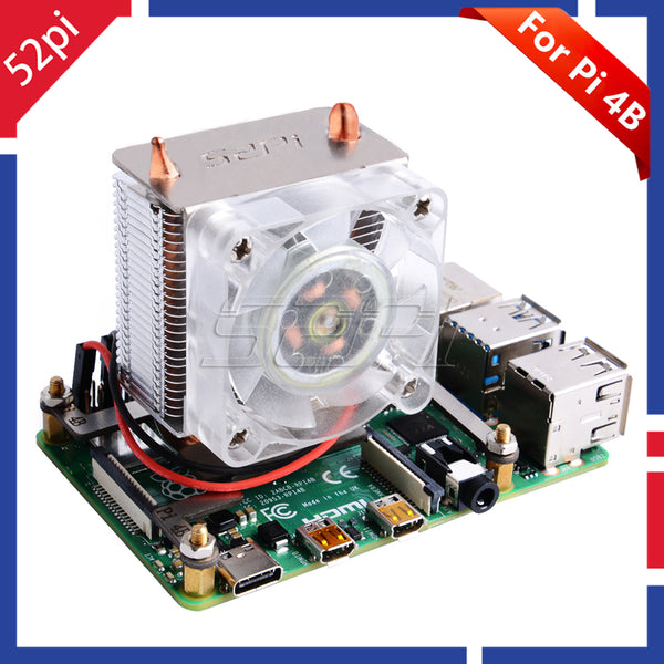 In Stock! 52Pi ICE-Tower CPU Cooling Fan Super heat dissipation Blue Light for Raspberry Pi 4B for Raspberry Pi 3B / 3B+ / 4B