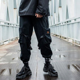 2019 Hip Hop Boy Multi-pocket Elastic Waist Design Harem Pant Men Streetwear Punk Casual Trousers Jogger Male Dancing Black Pant
