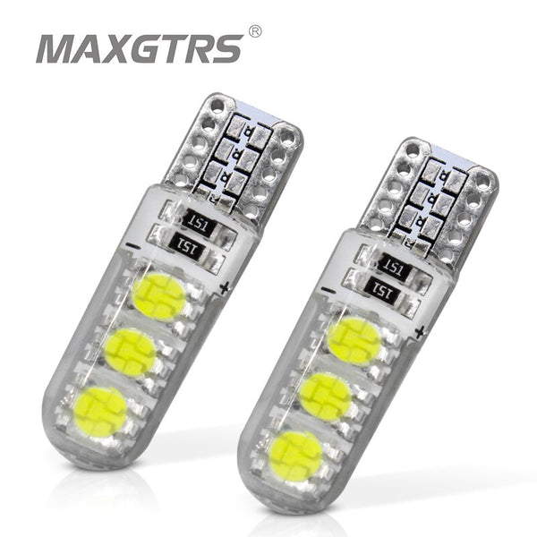10Pcs/Lot New Super Bright Silicone Double Sides Lighting T10 6Smd 5050 Led Bulb 3W 12V Clearance Lights W5W 194 168 Led Lamps