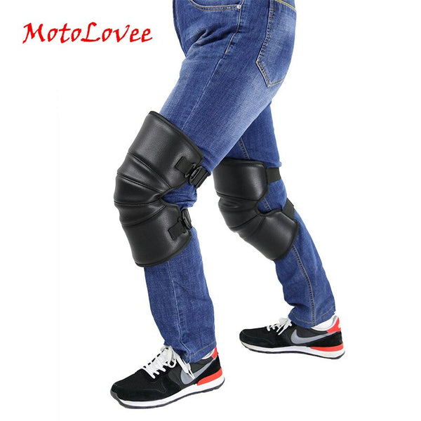 Riding Knee Pads Warmer Motorcycle Warm Kneepad Motorbike Windproof Winter Knee Protective Guard PU Leather Waterproof 2Pcs/Lot
