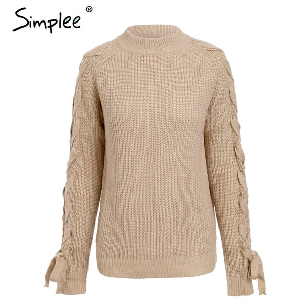 Simplee O neck knitted women sweater Lace up cute pullover and sweaters Winter 2018 female jumper elegant ladies tops jumper