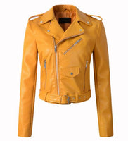New Arrival 2019 brand Winter Autumn Motorcycle leather jackets yellow leather jacket women leather coat  slim PU jacket Leather