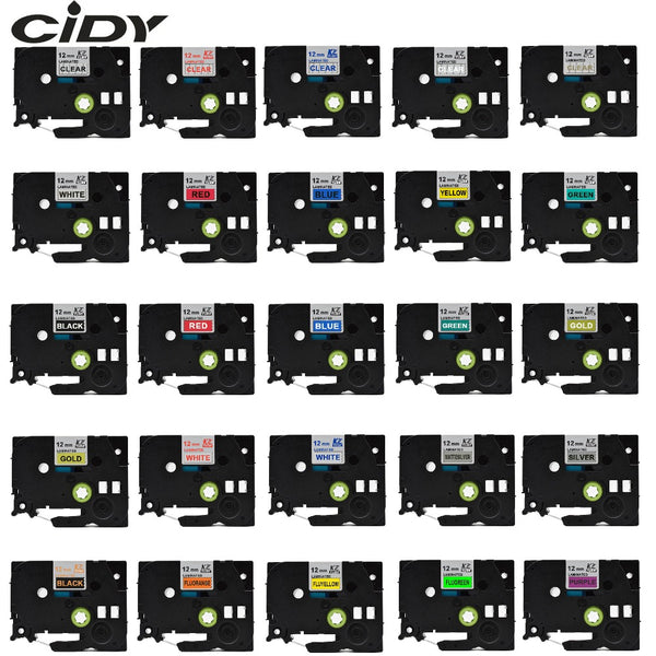 CIDY Multicolor Compatible laminated tze 231 tze231 12mm Black on white Tape tze-231 tz-231 for brother p-touch printer tze-131