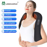 JinKaiRui U Shape Electrical Shiatsu Massager Shawl Roller Heat Massage Electric Pain Neck and Shoulder Multi-function Massagem
