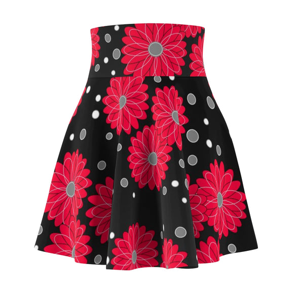 Women's Skater Skirt Flower Red